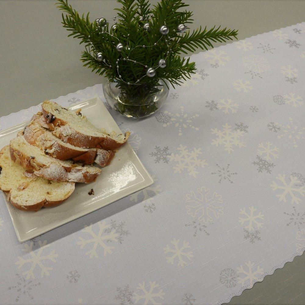 Vánoční ubrus bílý - Sněhová vločka 120x160cm