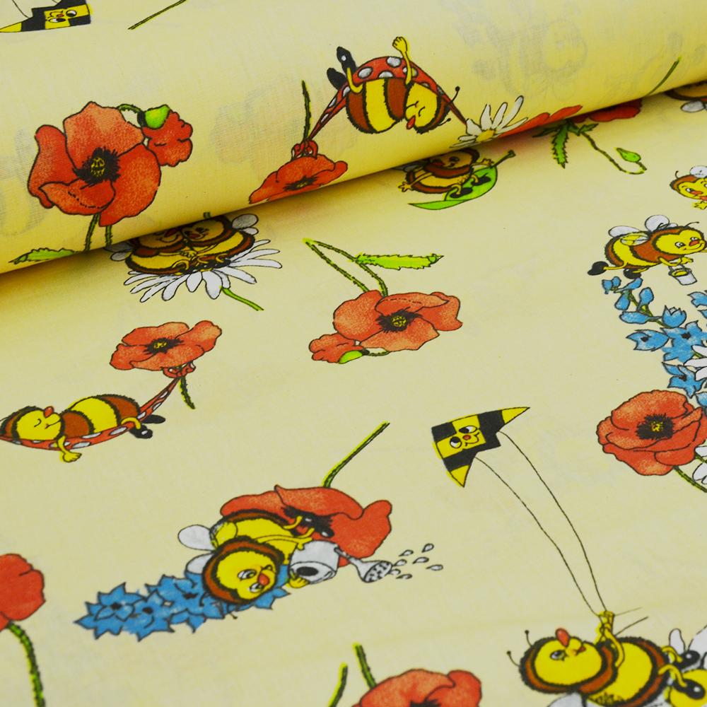 Dekorační látka se včelkami